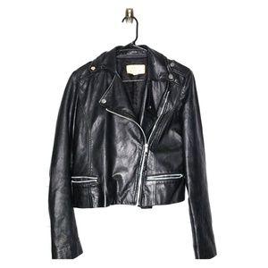 Mango MNG Black Leather Moto Jacket Size XS